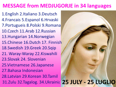 Message from Medjugorje 25-07-2015 (in 34 languages)