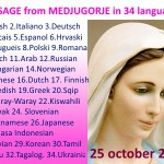 Message from Medjugorje 25-10-2015 (in 34 languages)