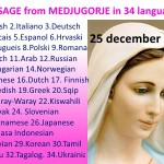 Message from Medjugorje 25-12-2015 (in 34 languages)