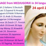 Message from Medjugorje 25-04-2016 (in 34 languages)