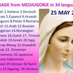 Message from Medjugorje 25-5-2016 (in 34 languages)