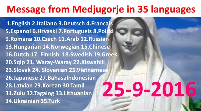 Message from Medjugorje 25-10-2016 (in 35 languages)