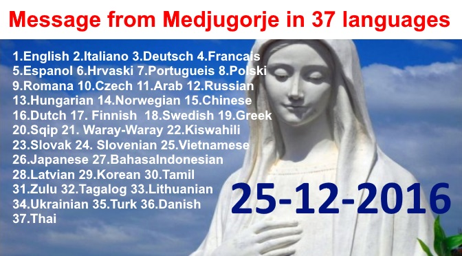 Message from Medjugorje 25-12-2016 (in 37 languages)