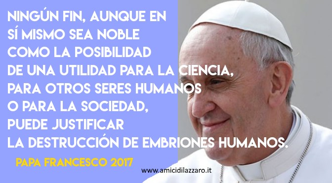 No to the destruction of human embryos (Pope Francis)