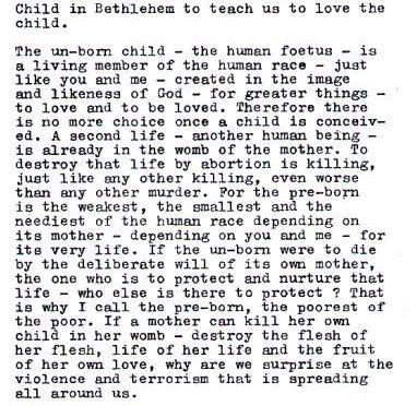 Lettera di Santa Teresa di Calcutta agli Italiani
