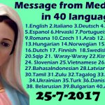Message from Medjugorje 25-7-2017 (in 40 languages)