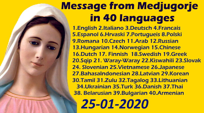 Message from Medjugorje 25-01-2020 (in 40 languages)